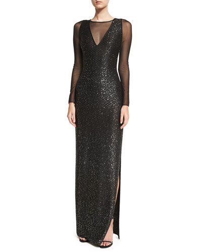 Sequined Knit Long-Sleeve Gown, Black