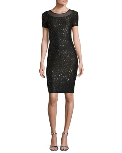 Pranay Sequined Degrade Knit Short-Sleeve Dress, Black
