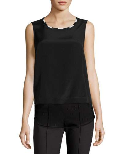 Mesh-Hem Scoop-Neck Shell, Black