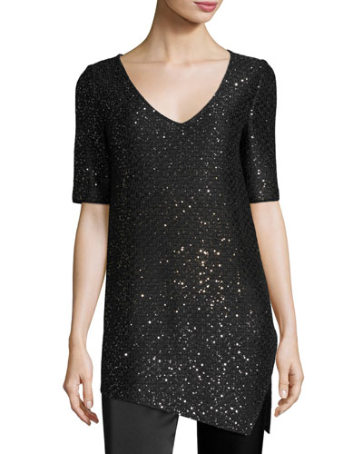Pranay Sequined Knit Asymmetric Sweater, Black
