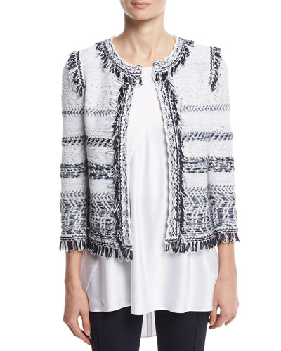 Tajdar Tweed Knit 3/4-Sleeve Jacket, White/Multi