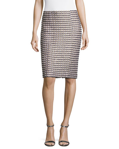 Vany Tweed Knit Pencil Skirt, Gold