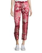 Cropped Floral Silk Satin Pants, Blush