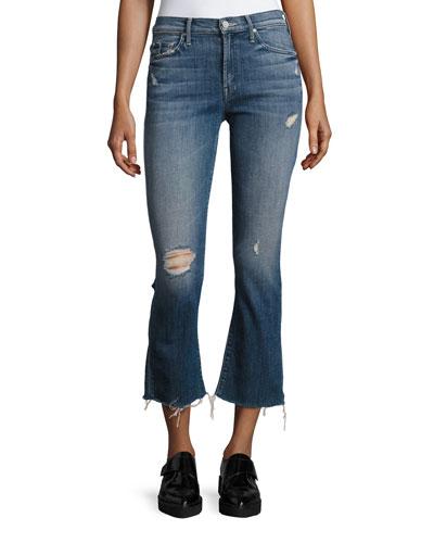 Insider Crop Fray Jeans, Indigo
