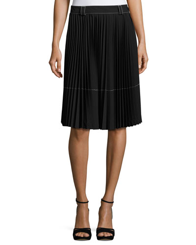 Belted Pleated A-Line Skirt, Black