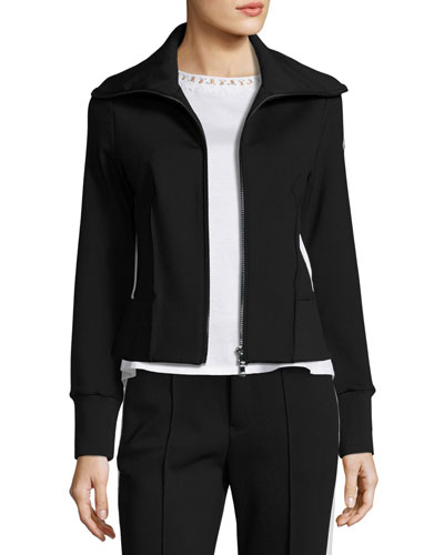 Stretch Jersey Zip-Front Cardigan, Black