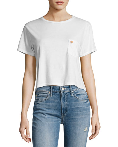 T-Time Cropped Pocket Tee, White