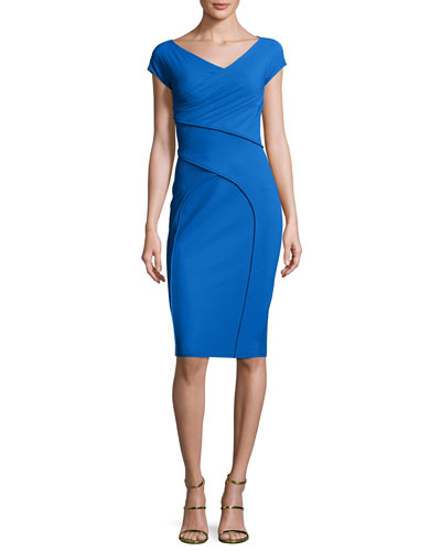 Merissa Cap-Sleeve Sheath Dress, Blue