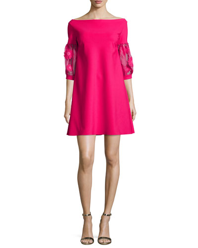 Mirelle Balloon-Sleeve Jersey Shift Dress, Pink
