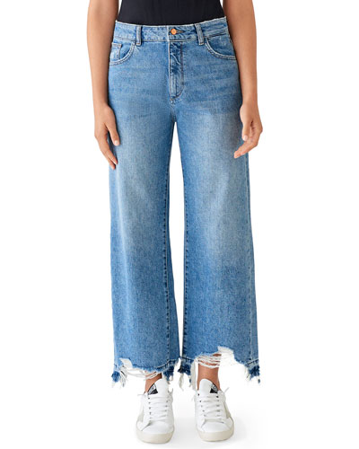 Hepburn High-Rise Wide-Leg Jeans with Shredded Hem, Slate