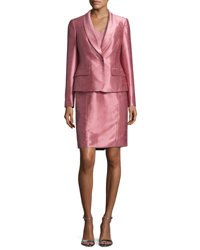 Satin Single-Button Jacket w/ Dress, Pink