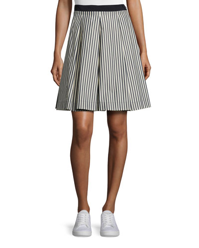 Striped Pleated A-Line Skirt, Navy