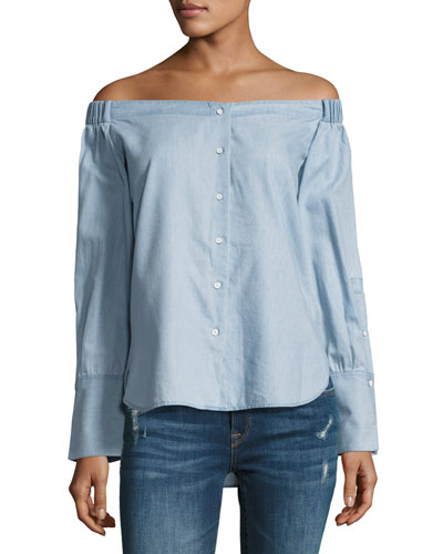 East Hampton Off-the-Shoulder Top, Blue