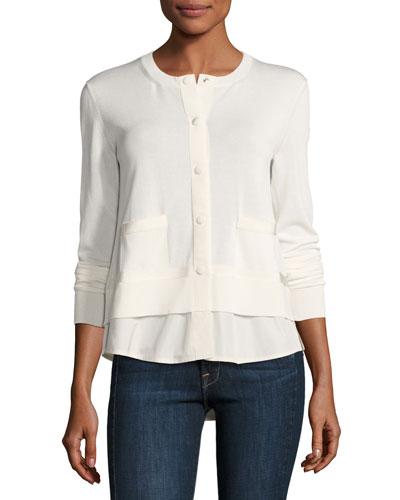 Chiffon-Trim Jersey Cardigan, White
