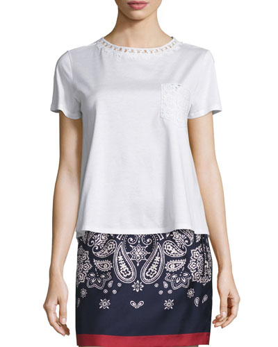 Short-Sleeve Cotton Jersey Lace-Trim Tee, White