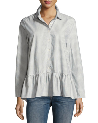 The Drop Ruffle Oxford Top, Indigo
