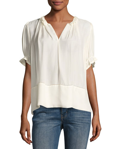 The Story Split-Neck Silk Blouse, Cream