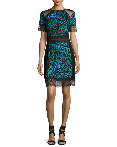 Short-Sleeve Printed Lace-Trim Cocktail Dress, Blue