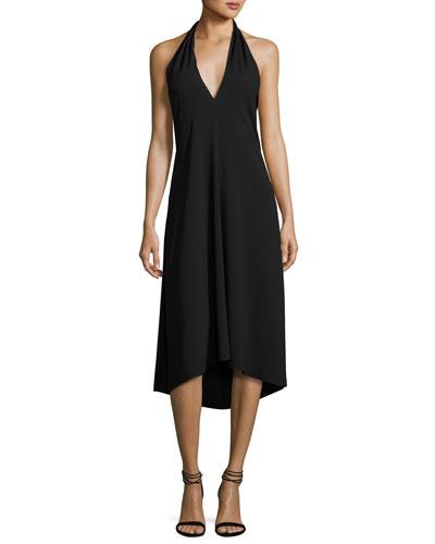 Araci Rosina Crepe V-Neck Halter Midi Dress, Black