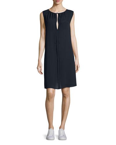 Vernavan Classic Georgette Tie-Neck Shift Dress