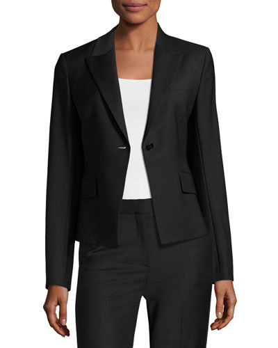 Brince B Continuous Single-Button Blazer, Black