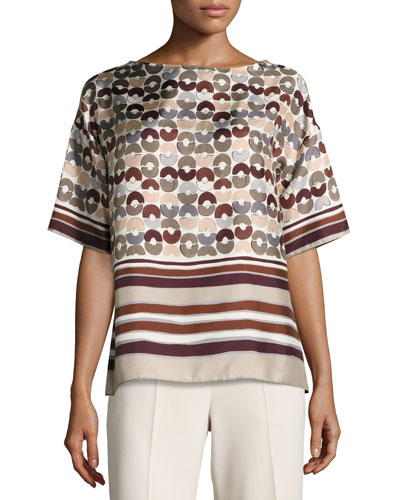 Canada Half-Sleeve Mixed-Print Silk Blouse, Maroon