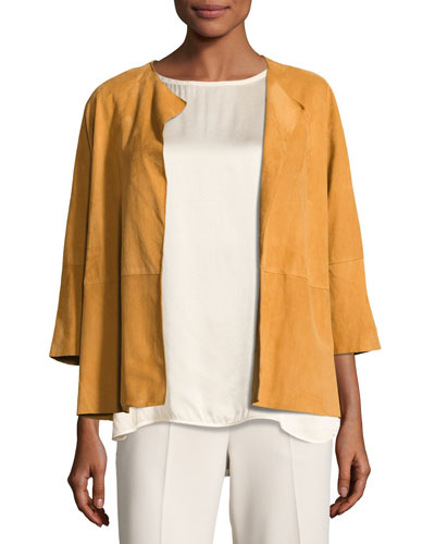 Formentera Drape-Front Suede Jacket, Orange