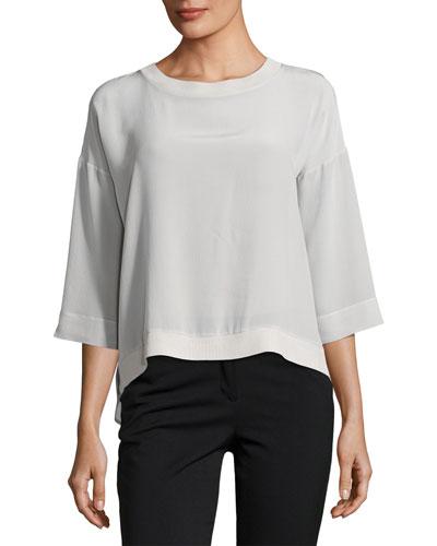 Palermo 3/4-Sleeve Silk Top, Gray