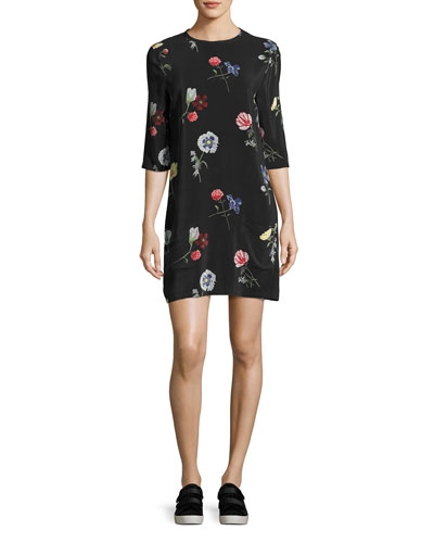 Aubrey Floral-Print Silk 3/4-Sleeve Shift Dress, Black