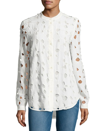Henri Embroidered Cutout Silk Shirt, White