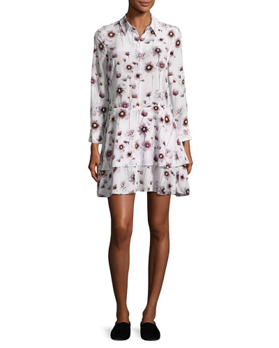 Natalia Floral Tiered Silk Shirtdress, White