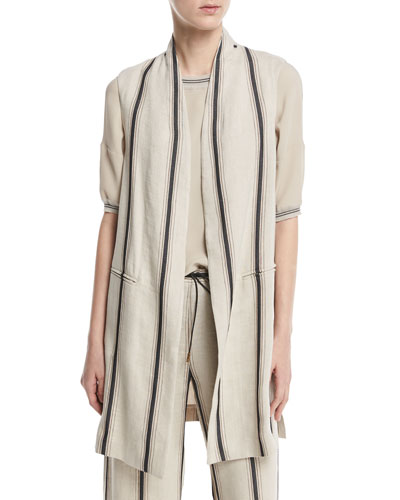 Eboli Long Striped Linen-Blend Vest, Beige