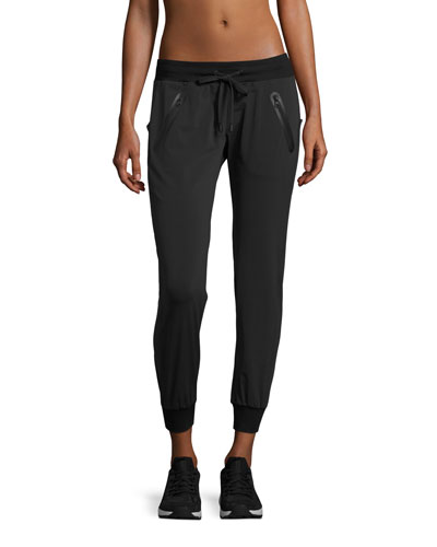 Tech Zip-Pocket Jogger Pants, Black