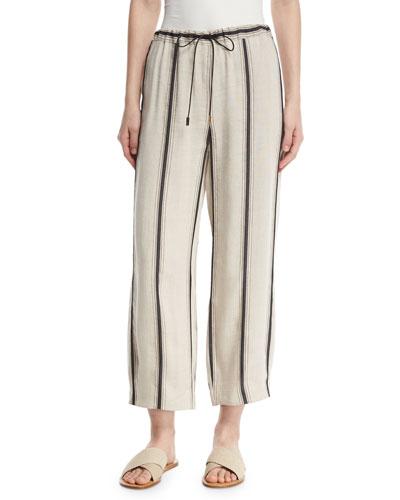 Savona Striped Linen-Blend Ankle Pants, Neutral