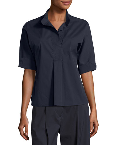 Carrara Half-Sleeve Stretch-Cotton Tunic, Navy