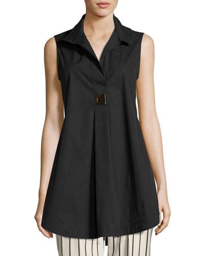 Livigno Long Sleeveless Stretch-Cotton Tunic, Black