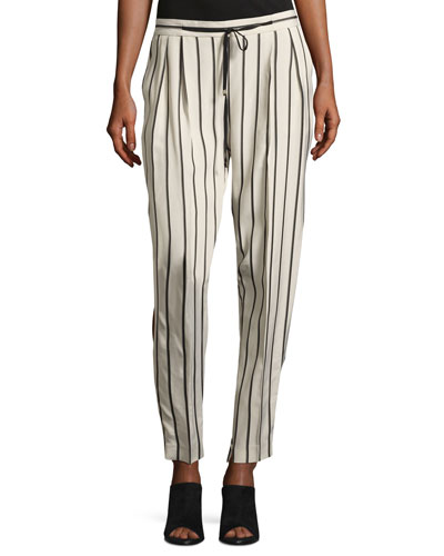 Tortona Striped Slouchy Straight-Leg Pants, Multi