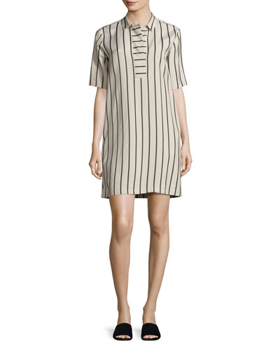 Lodi Short-Sleeve Striped Shift Dress