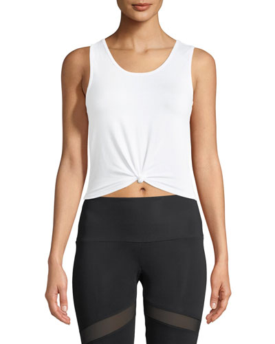 Knot Cropped Tank Top, White