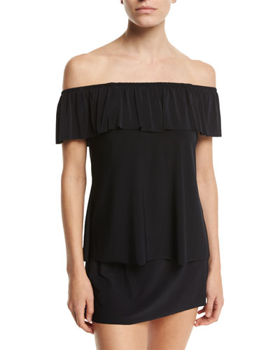 Kriss Off-the-Shoulder Tankini Swim Top, Black, Plus Size