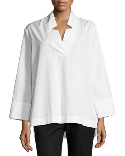 Ascoli Long-Sleeve Boxy Cotton Tunic, White