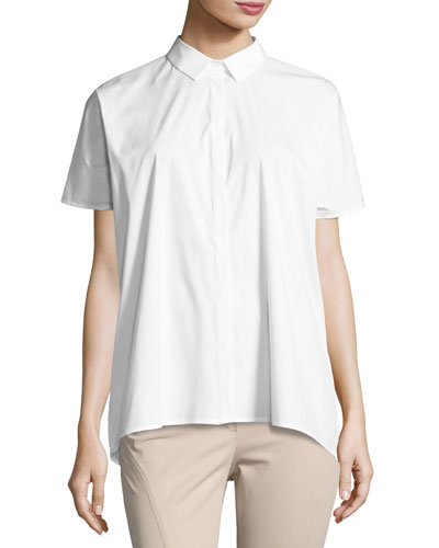 Ancona Short-Sleeve Pleated-Back Shirt, White