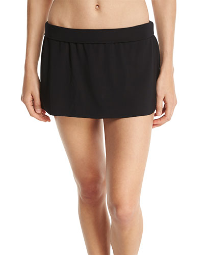 Basic Solid Skirted Swim Bottom, Black, Plus Size