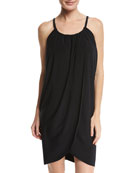 Draped Coverup Dress, Black, Plus Size