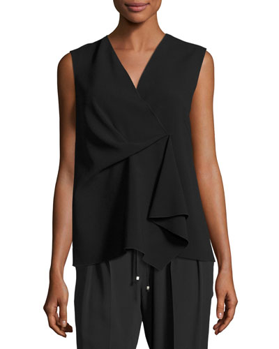 Cheti Sleeveless Crepe Drape-Front Top, Black