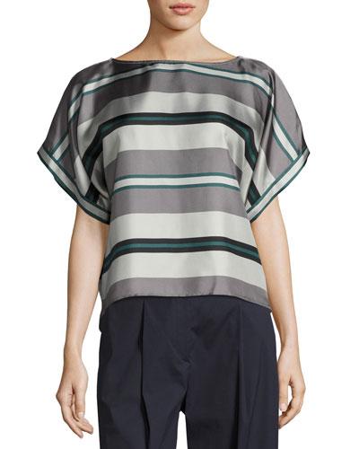 Bassano Short-Sleeve Striped Silk Tie-Back Top, Gray