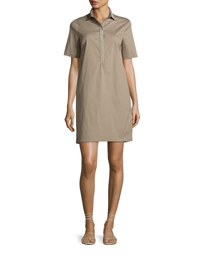 Mestre Short-Sleeve Tunic Dress, Dark Beige