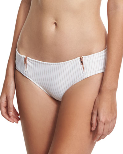 Spring Training Zipper Cheeky Swim Bottom, Orange/White