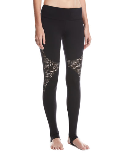 West Coast Laser-Cut Performance Leggings, Black