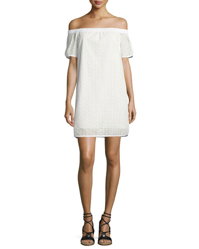 Flavia Eyelet Lace Off-the-Shoulder Shift Dress, White